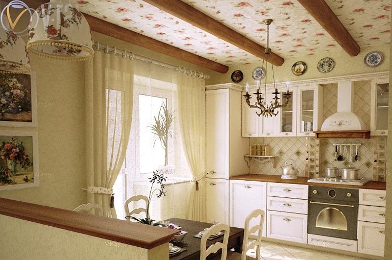 Обои на кухню в стиле прованс фото интерьер своими руками 92